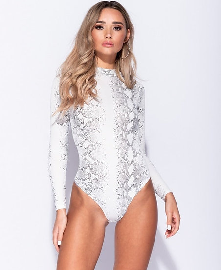 Snake Print High Neck Bodysuit - White