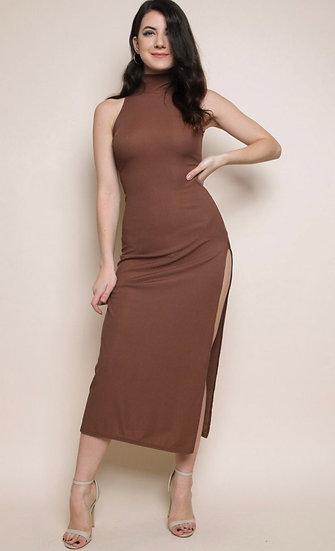 High Neck Sleeveless Ribbed Dress