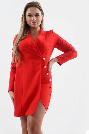 Asymmetric Button Detail Blazer Dress