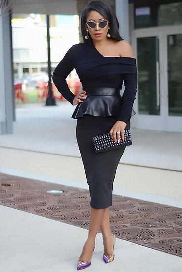 Black inclined Shoulder Patchwork Leather Dress