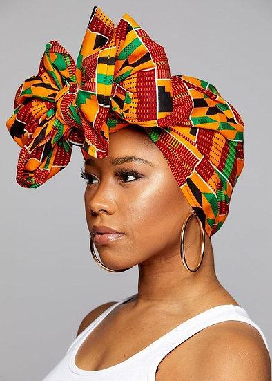 ANKARA Dashiki African Print headwrap/ Scarf - Green, Black & Orange  Head