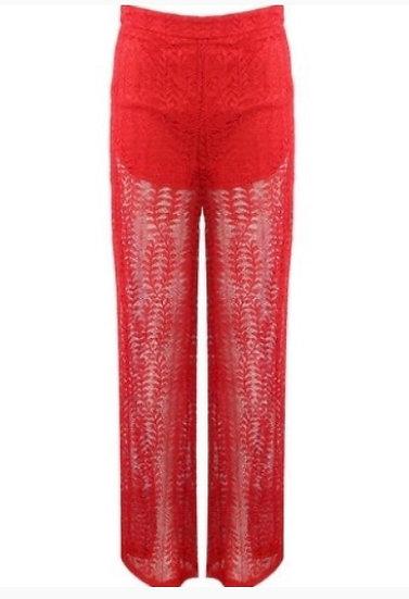 Lace Overlay Mesh Insert trouser