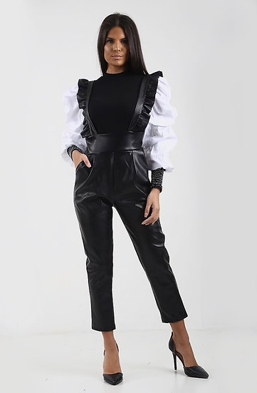 Black Faux Leather Dungarees