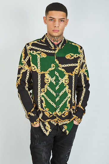 MEN'S GREEN CHAIN AND BAROQUE PRINT SHIRT