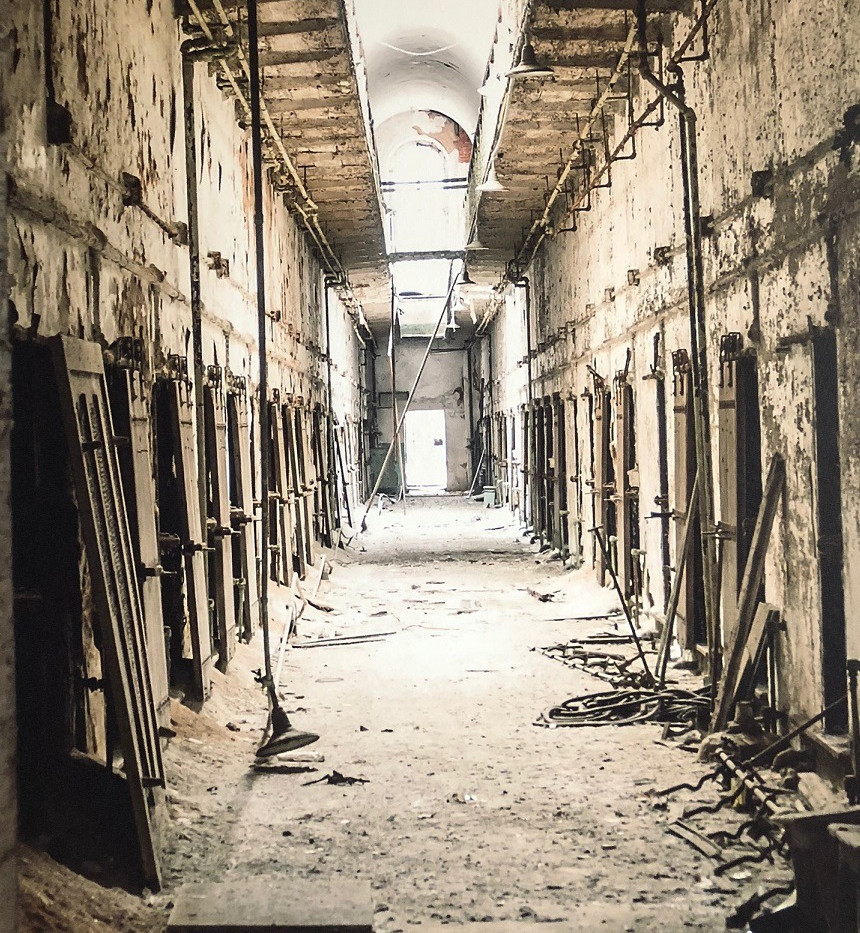 Incredible wall mural of the haunted Eastern State Penitentiary.