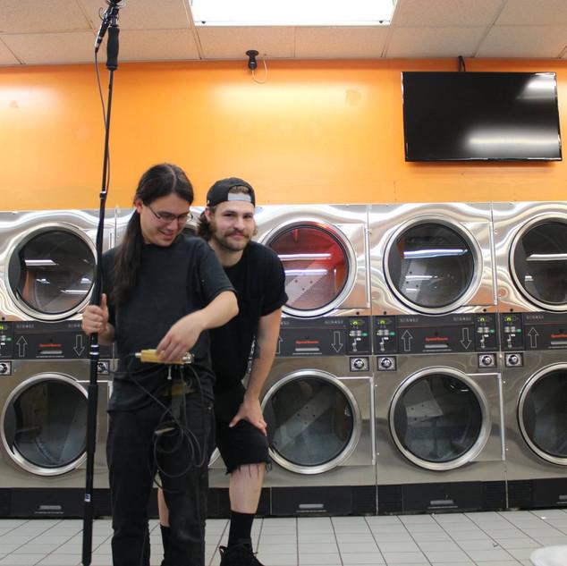 Nic with Chris Lee on set YOTS