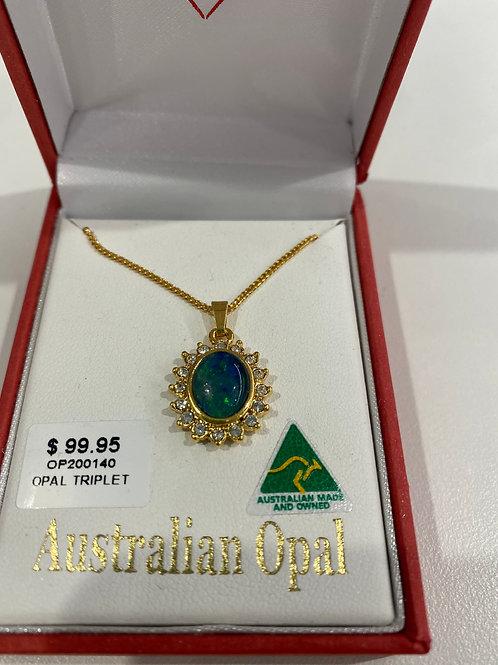 OP200140 - Gold Neckace & Opal Pendant