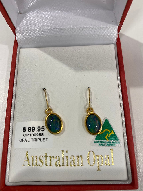 OP100288 - Gold Opal Drop Earrings