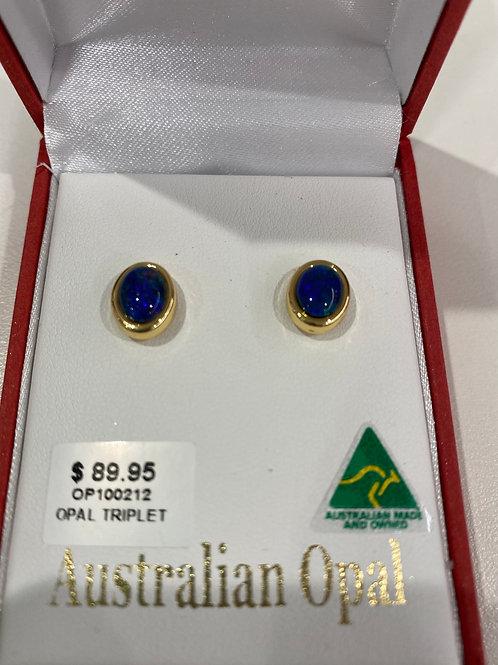 OP100212 - Gold Opal Stud Earrings