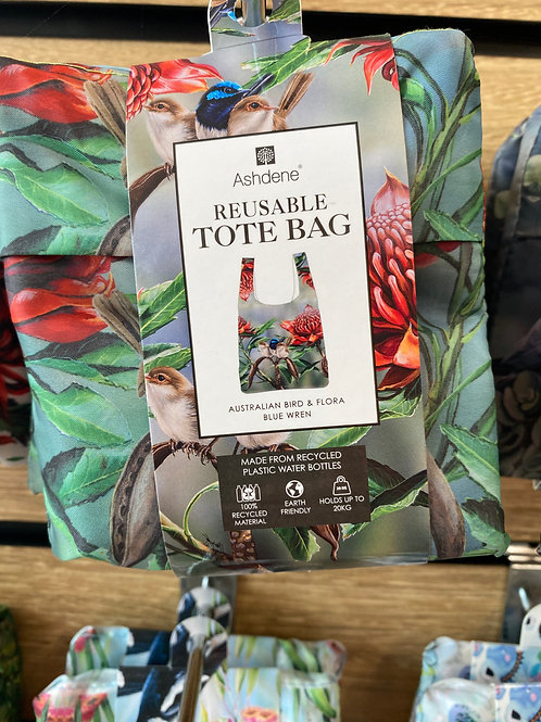 Ashdene Reusable Tote Bag - Australian Bird & Flora Blue Wren