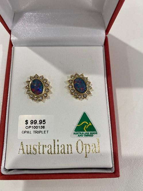 OP100136 - Gold Opal Stud Earrings