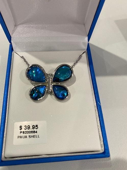 PS200584 - Silver Paua Shell Necklace & Pendant