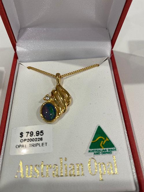 OP200226 - Gold Necklace & Opal Pendant