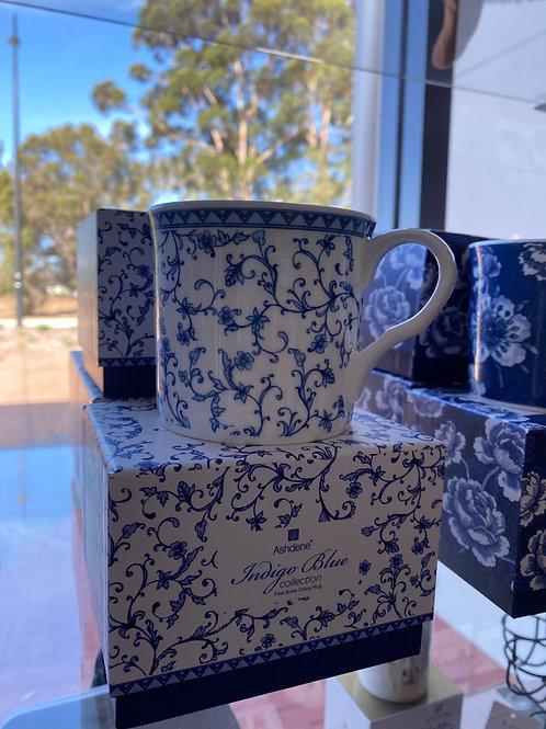 Ashdene - Indigo Blue Scroll Wide Flare Mug