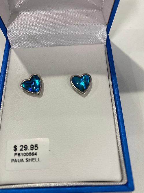 PS100564 - Silver Paua Shell Earrings