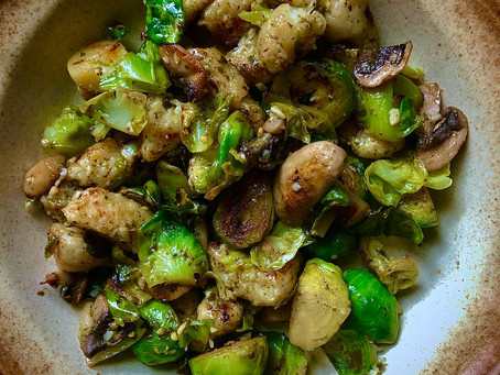 Cauliflower Gnocchi with Pesto, Brussel Sprouts, Mushrooms and Pesto