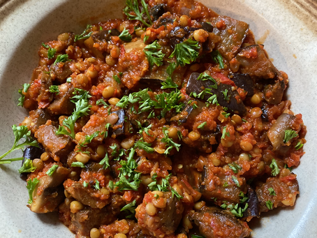 Moroccan-spiced lentils & eggplant stew