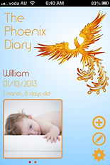 The Phoenix Diary app home page