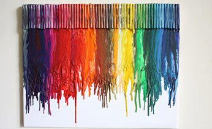 crayons craft canvas artwork design handmade DIY