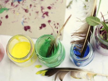 DIY Paints & Feather Brushes