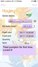 The Phoenix Diary girl feeding log page