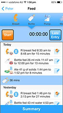 The Phoenix Diary app boy bottle feeding timer page