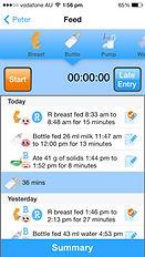 The Phoenix Diary app boy bottle feeding timer page