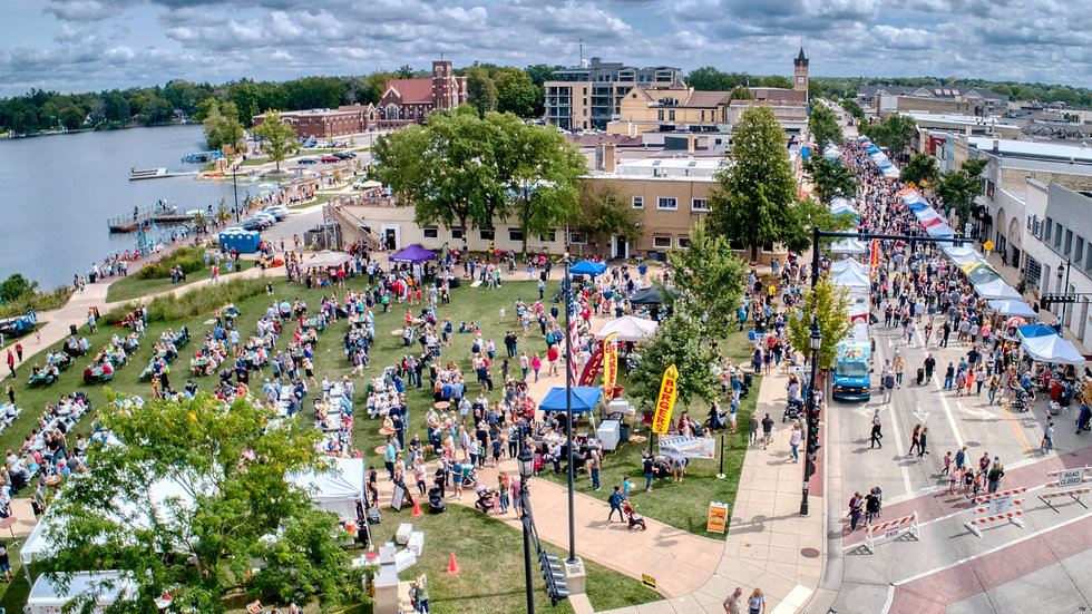 Drone shot of Fall Fest in Oconomowoc, WI 2020