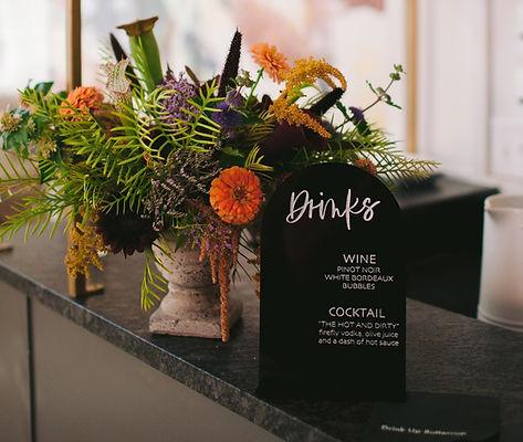 Drink Menu with Wedding Florals