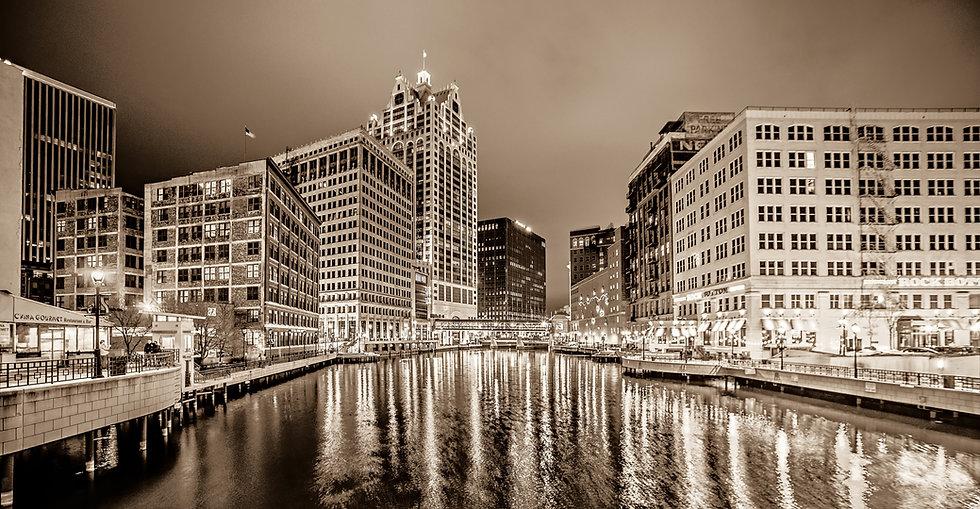 Milwaukee River Scene at Night