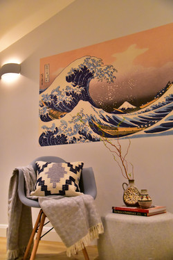 Accent wall paper & Arm chairs
