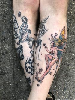Frazetta Fairy and Sorayama Tattoo