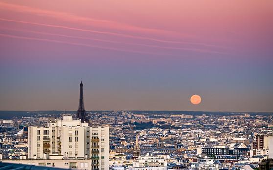 Paris Full Moon Rising
