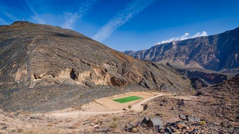 Soccer field in the Al Hajar Mountains