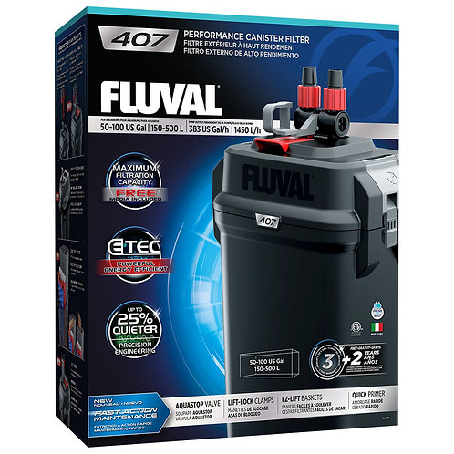 Fluval 407 Performance Canister Filter, up to 100 US Gal (500 L)