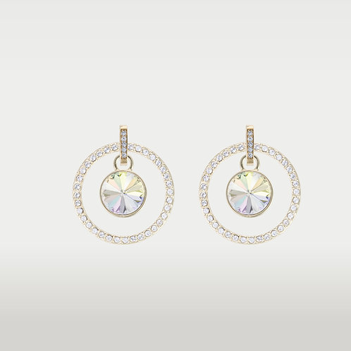 Splash of color Earrings With Infinite Circle(L) Gold