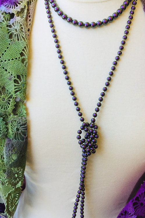Iridescent pearl necklace (long)