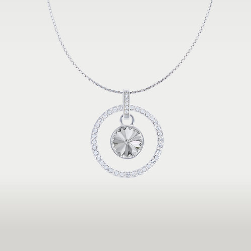 Splash of Color Necklace with Infinite Circle(L)- Silver