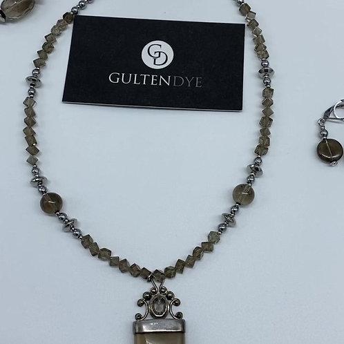 SmokyQuartz andsterling silver necklace set