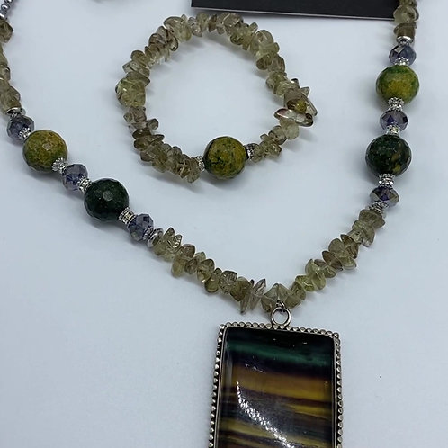 Fluorite Pendent Jewelry Set