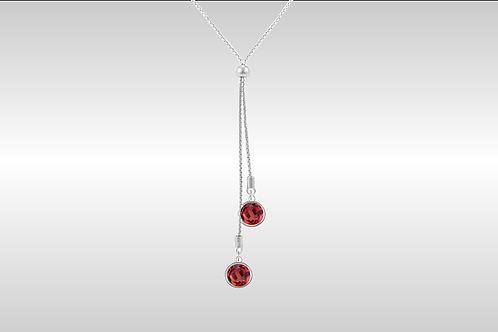 Lariat with Large Circle Stones  / Silver