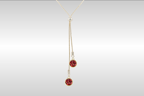 Lariat with Large Circle Stones  /Gold