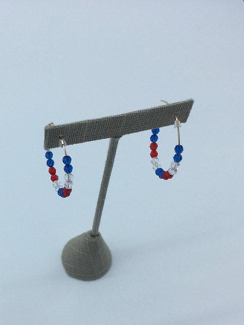 Red,White&Blue  Hoop Earrings  /Happy 4th-1