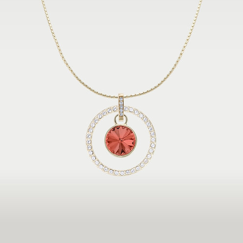 Splash of Color Necklace with Infinite Circle -Gold