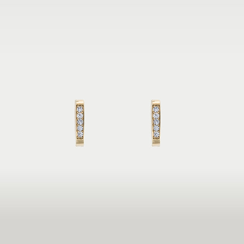 Essential Earrings(5 mm.) with stones - Silver/Gold