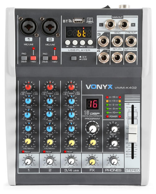 $25 4 Channel Music Mixer with DSP and blu-tooth