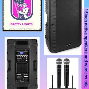 $100 2 x 15inch speakers and 1 x twin mic set.  2 x speaker stands