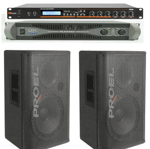 $110 2 X 15 INCH Bluetooth and amp set