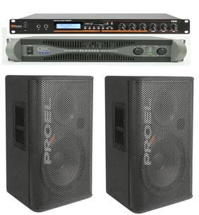 $80 2 X 15 INCH PASSIVE PROEL-Bluetooth rack- qsc amp
