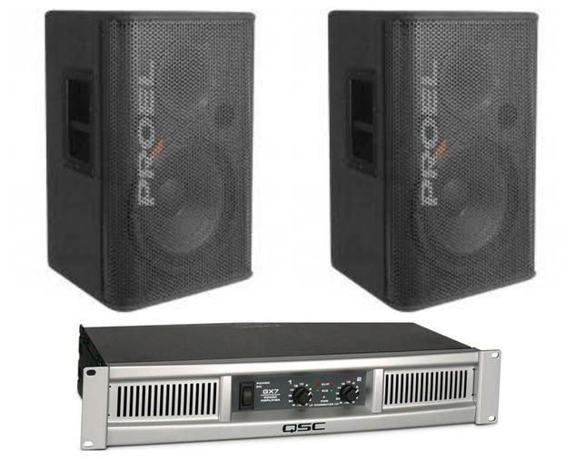 (4) $80 2 X 15 INCH PASSIVE PROEL TL-15P8 with qsc amp